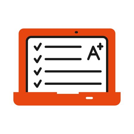 online learning concept, laptop computer with academic note icon over white background, half line half color style, vector illustration