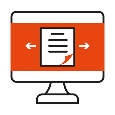 online learning concept, computer with document on screen icon over white background, half line half color style, vector illustration