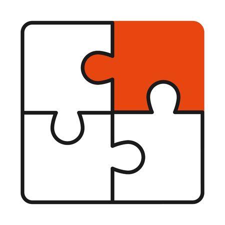 jigsaw puzzles icon over white background, half line half color style, vector illustration Ilustração