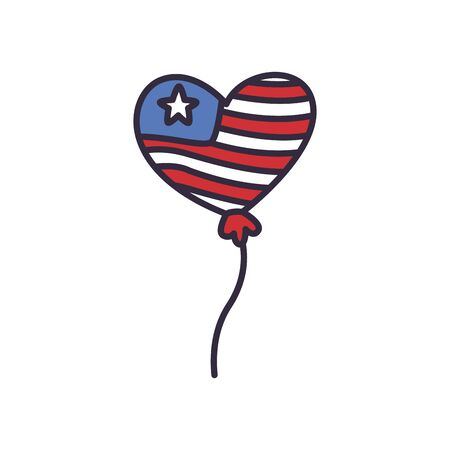 Usa heart balloon fill style icon design, United states independence day and national theme Vector illustration