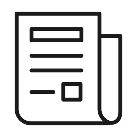 document page icon over white background, line style, vector illustration