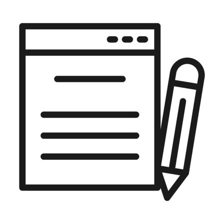 notes and pencil icon over white background, line style, vector illustration