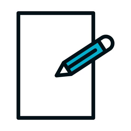 blank paper and pencil icon over white background, line style, vector illustration