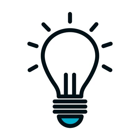 bulb light icon over white background, half color half line style, vector illustration