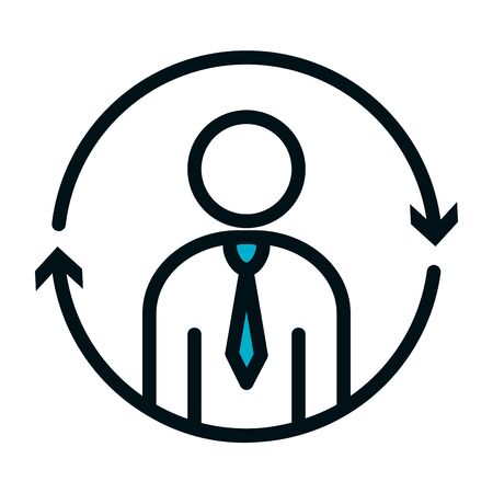 pictogram businessman with arrows around icon over white background, half color half line style, vector illustration