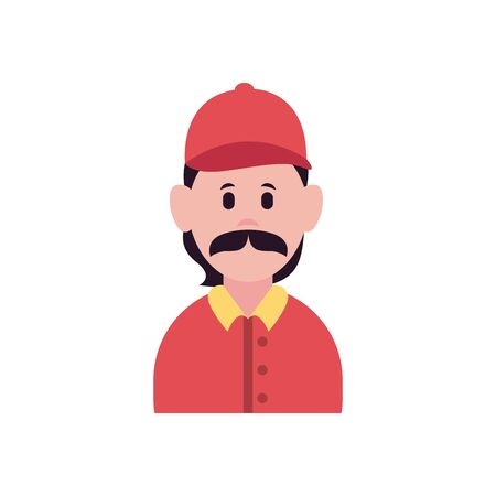 fast delivery concept, cartoon delivery man icon, flat style, vector illustration