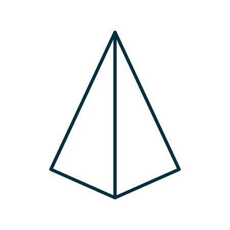 3d pyramid line style icon design, Geometric shape theme Vector illustration