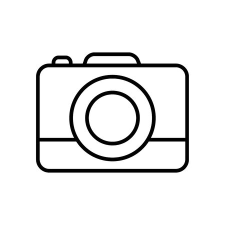 camera icon over white background, line style, vector illustration
