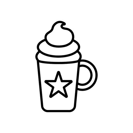 star mug with cake icon over white background, line style, vector illustration