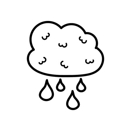 cloud with drops icon over white background, line style, vector illustration