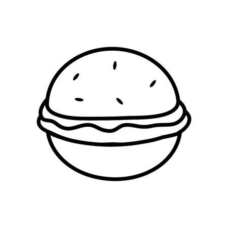 hamburger icon over white background, line style, vector illustration