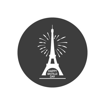Happy bastille day concept, eiffel tower and fireworks over white background, block silhouette style, vector illustration