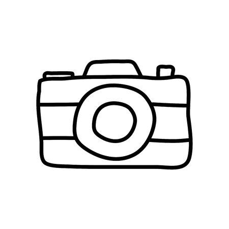 photographic camera icon over white background, line style, vector illustration Illustration