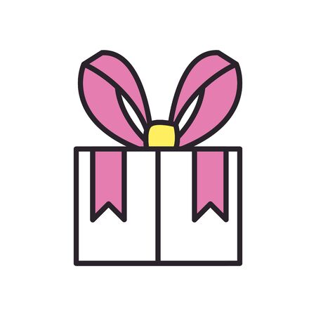 Gift fill style icon design, happy birthday celebration decoration party festive and surprise theme Vector illustration Ilustrace