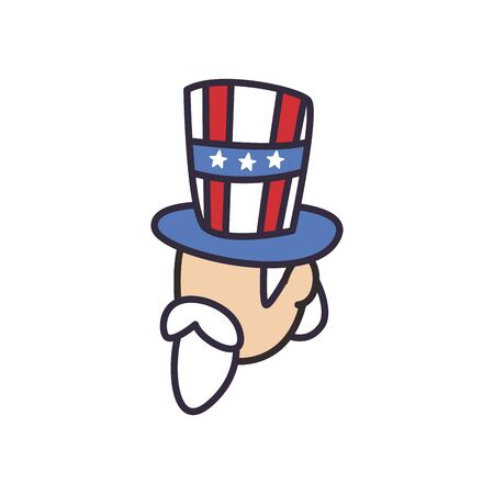 Uncle sam with usa hat fill style icon design, United states independence day and national theme Vector illustration