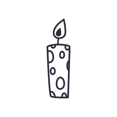 Candle line style icon design, Fire flame candlelight light spirituality burn and decoration theme Vector illustration Ilustrace