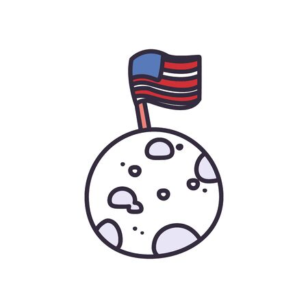 Usa flag over moon fill style icon design, United states independence day and national theme Vector illustration 向量圖像