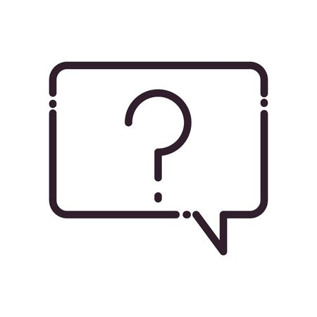 Communication bubble with question mark line style icon design, Message discussion conversation and chatting theme Vector illustration Иллюстрация