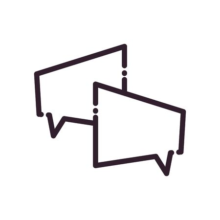 Rectangles communication bubbles line style icon design, Message discussion conversation and chatting theme Vector illustration