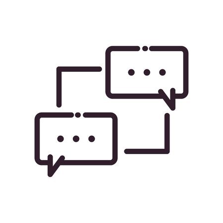 Communication bubbles with points line style icon design, Message discussion conversation and chatting theme Vector illustration