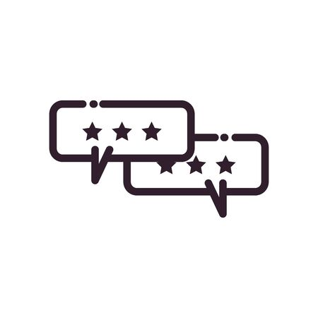 Communication bubbles with stars line style icon design, Message discussion conversation and chatting theme Vector illustration