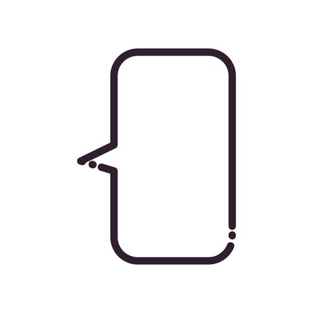 Rectangle communication bubble line style icon design, Message discussion conversation and chatting theme Vector illustration