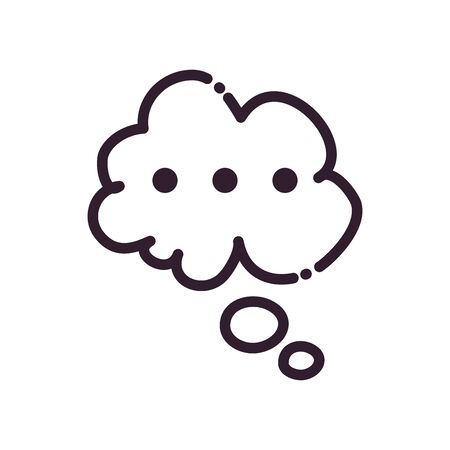 Cloud communication bubble line style icon design, Message discussion conversation and chatting theme Vector illustration