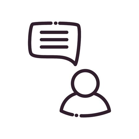 Avatar with communication bubble line style icon design, Message discussion conversation and chatting theme Vector illustration