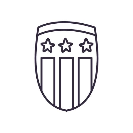 Usa shield with stars line style icon design, United states independence day and national theme Vector illustration