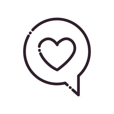 Communication bubble with heart line style icon design, Message discussion conversation and chatting theme Vector illustration