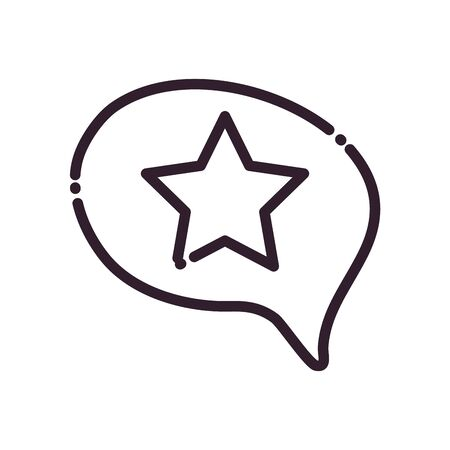 Communication bubble with star line style icon design, Message discussion conversation and chatting theme Vector illustration Иллюстрация
