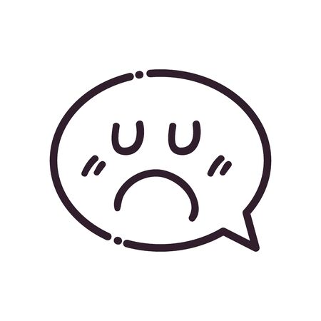 Communication bubble with sad cartoon face line style icon design, Message and discussion theme Vector illustration