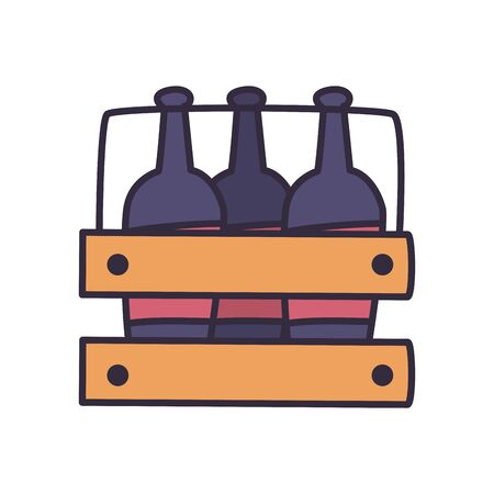 Wine bottles inside box fill style icon design, Winery alcohol drink beverage restaurant and celebration theme Vector illustration
