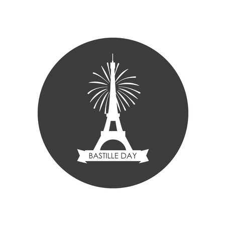 Happy bastille day concept, eiffel tower with ribbon and firework over white background, block silhouette style, vector illustration Illustration