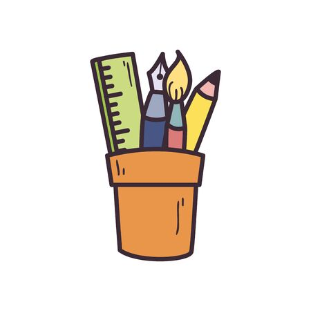Pencil pen paint brush and ruler inside mug fill style icon design, Tool draw art and learn theme Vector illustration