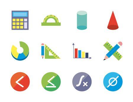 flat style icon set design, Math finance and education theme Vector illustration