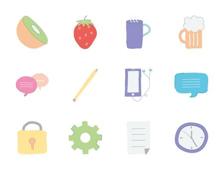 kiwi and cute stuffs icon set over white background, flat style, vector illustration 向量圖像