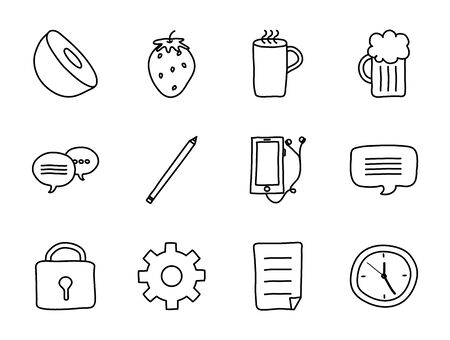 kiwi and cute stuffs icon set over white background, line style, vector illustration