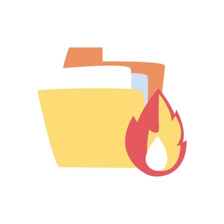 File and flame flat style icon design, Document data archive storage organize business office and information theme Vector illustration