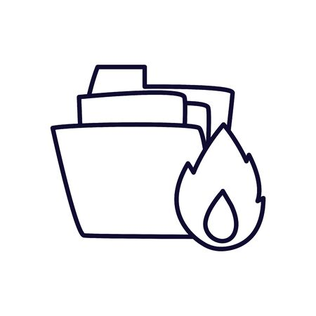 File and flame line style icon design, Document data archive storage organize business office and information theme Vector illustration Ilustração