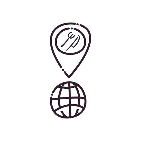 Global sphere fork and knife inside gps mark line style icon design, Delivery logistics and transportation theme Vector illustration