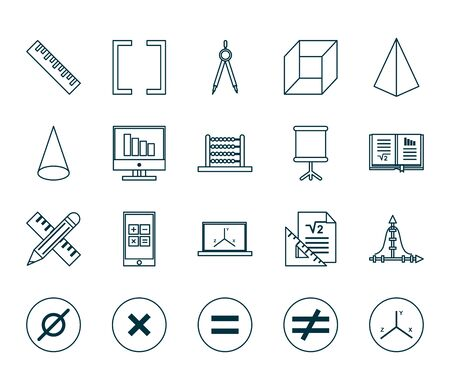line style icon set design, Math finance and education theme Vector illustration