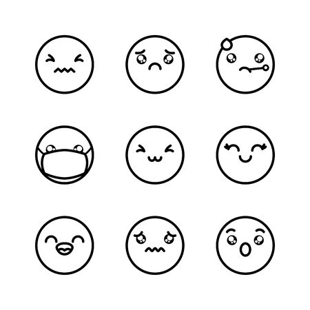 sad emoji and emoji faces icon set over white background, line style, illustration