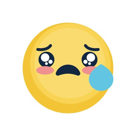 sad emoji with tear icon over white background, flat style, vector illustration