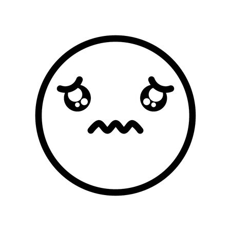 sad emoji crying icon over white background, line style, vector illustration Illustration