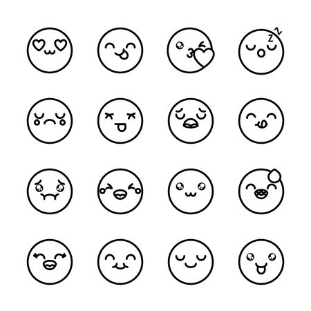 nausea emoji and emoji faces icon set over white background, line style, vector illustration