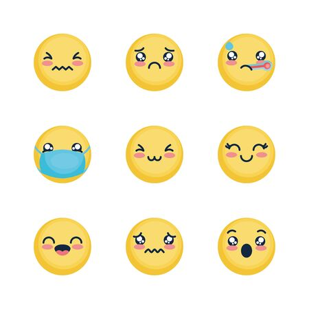 sad emoji and emoji faces icon set over white background, flat style, vector illustration