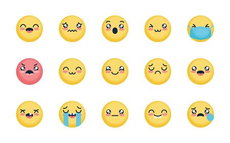 angry emoji and emoji faces icon set over white background, flat style, vector illustration