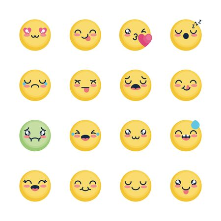 nausea emoji and emoji faces icon set over white background, flat style, vector illustration  イラスト・ベクター素材