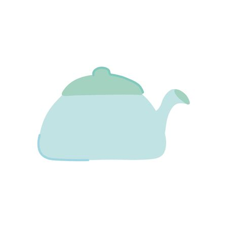 kettle icon over white background, flat style, vector illustration Vettoriali
